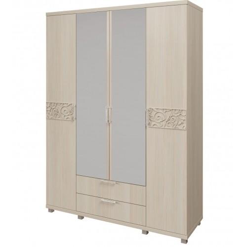 06 «Ирис» Шкаф для одежды 4-х дверный с ящиками (Дуб Бодега)