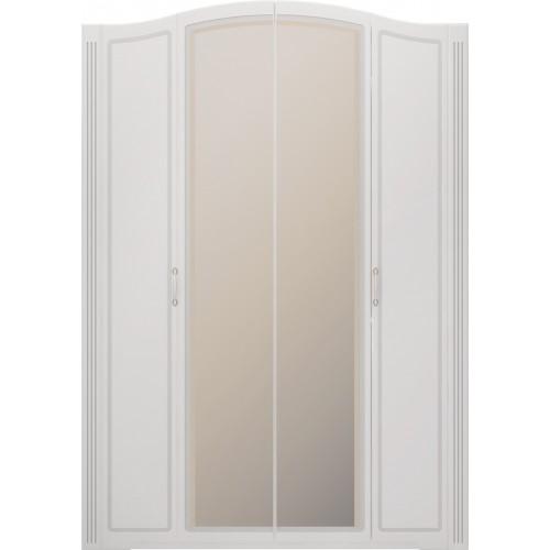 """01 """"Виктория"""" Шкаф для одежды 4-х дверный (с зеркалами) (Белый Глянец)"""