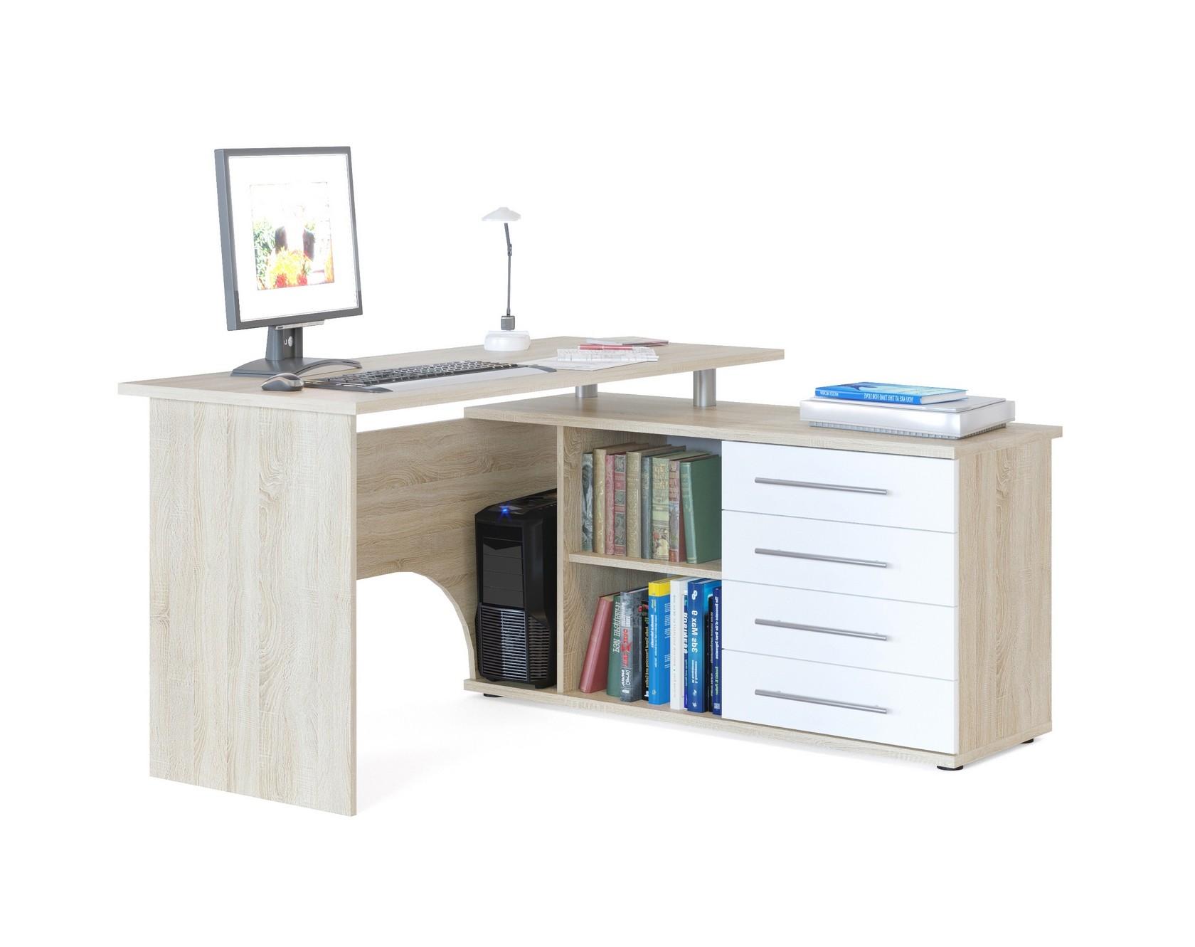 Компьютерный стол кст-109п с тумбой белый - купить в интерне.